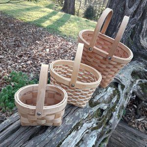 Set of 3 Wicker Baskets with Handles Stackable